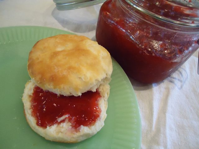 Biscuit with strawberry jam. This is jam, not jelly so it won't be ...
