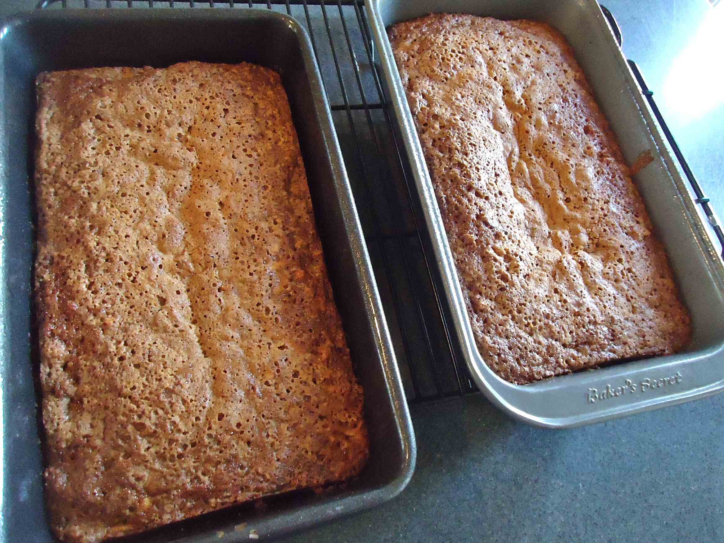 Pour the batter into 2 loaf pans. You could make one giant loaf out of ...