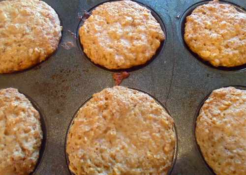 Here they are, hot from the oven. This recipe will make about 8 or 9 regular sized muffins.