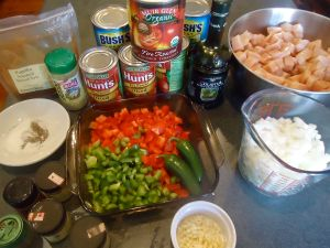 The ingredients for this chili - well almost. Missing are the stock/broth, the beer and the other large can of tomatoes. Oops!
