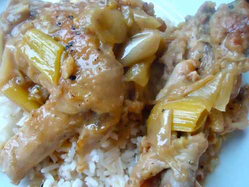 Braised chicken with leeks on the plate