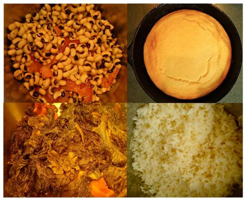 "The ""four food groups"" for a successful Southern style New Year's Day feast: black-eyed peas, cornbread, greens and rice."