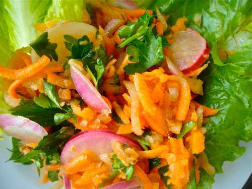 carrot slaw on the plate