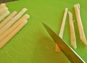 Cut both ends of each stick at an angle. Cut a few more than you'll need in case a couple break.