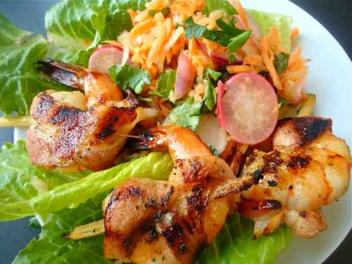 sugar caned shrimp wrapped in bacon