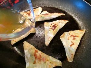 Brown the pot stickers in batches.