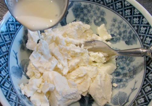 Mix the goat cheese and cream until smooth.