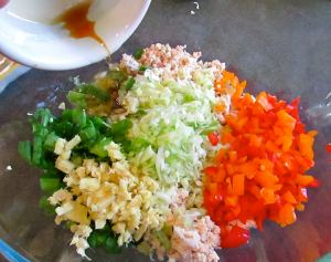 Once you get all the parts prepared, the filling goes together in a snap. Lots of fresh, colorful ingredients too.