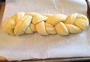 The braided loaf ready for the glaze.
