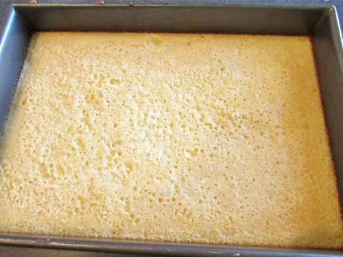 Here the pan of lemony goodness right out of the oven. I'll sprinkle with confectioner's sugar, allow to cool and cut into squares.