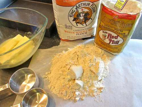 The shortbread crust ingredients - I used white whole wheat flour and sorghum flour. The shortbread was light and not dry with a good (but not overwhelming) butter flavor.
