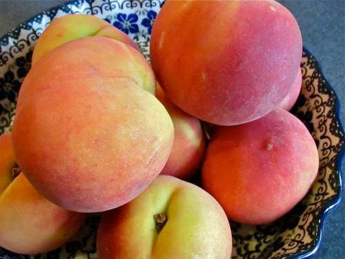 Lovely, fragrant SC peaches. Our abundant rain has made the peaches larger than normal and I found them very flavorful nonetheless.
