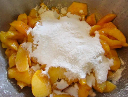 Gently mix the peaches with the dry mixture of sugar, cornstarch and salt. Next roll out your pie crust and fit to the pie plate.